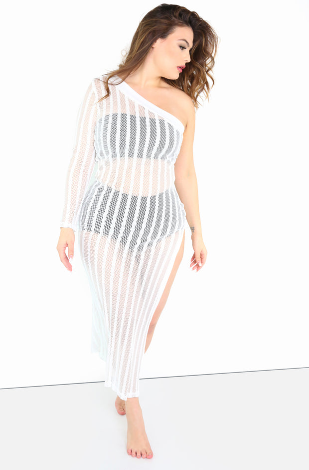 white One Shoulder Sheer Maxi Cover Up Dress Plus Sizes