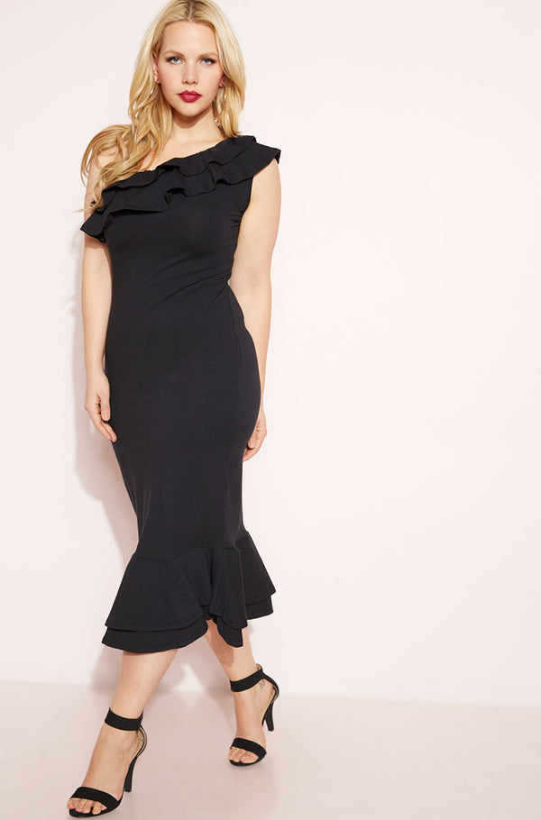 Black One Shoulder Ruffled Bodycon Midi Dress plus sizes