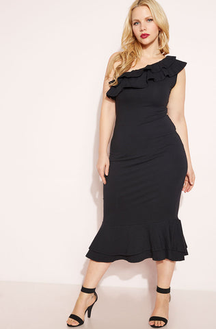 "Unbranded. ""Meant To Be"" Draped Dress - Black"