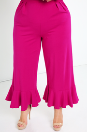Fuchsia Ruffled Hem Jumpsuit Plus Sizes