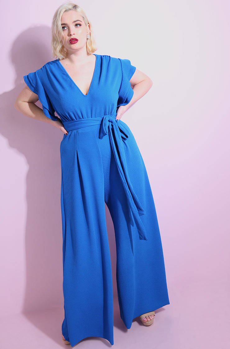Royal Blue Ruffled Sleeves Wide Leg Jumpsuit plus sizes