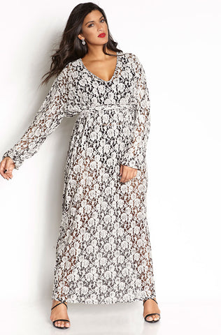 Rebdolls Essential Long Sleeve V-Neck Midi Dress- White