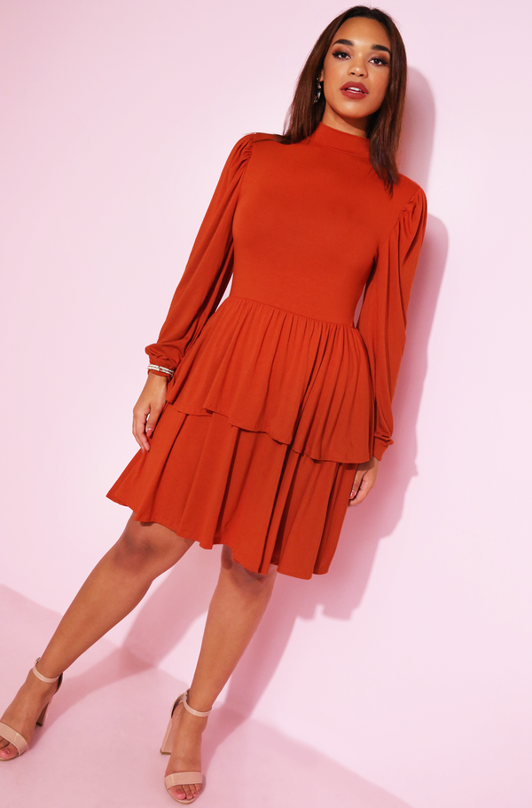 orange brick Puff Sleeve Tiered Skirt Skater Mini Dress plus sizes