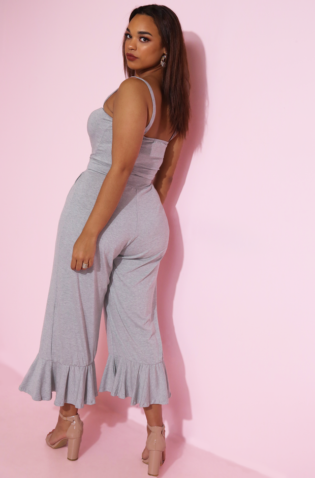 Gray Ruffled Hem Jumpsuit Plus Sizes