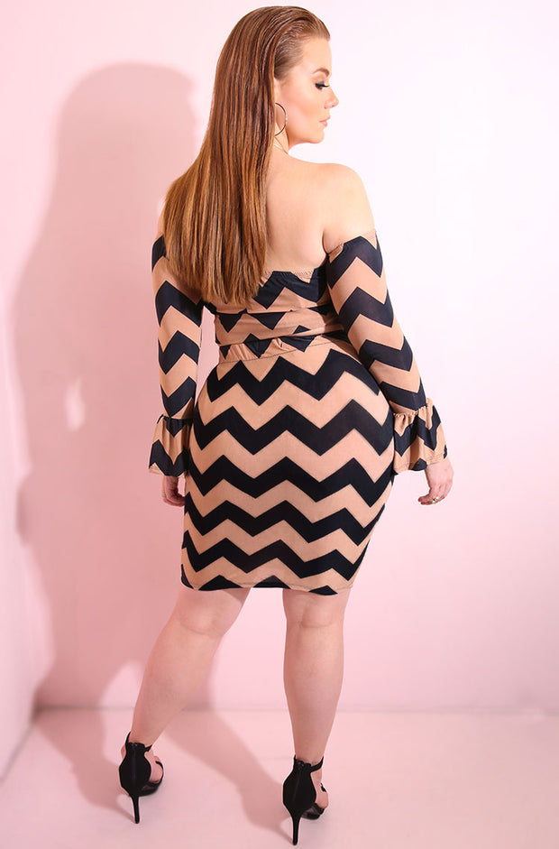 Black Chevron Print Bodycon Mini Skirt plus sizes