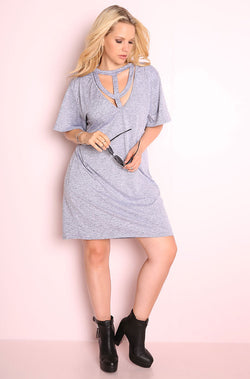 Gray Caged Shift Mini Dress plus sizes