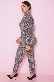 Aztec print button Down Printed sporty jogger Jumpsuit with pockets plus sizes