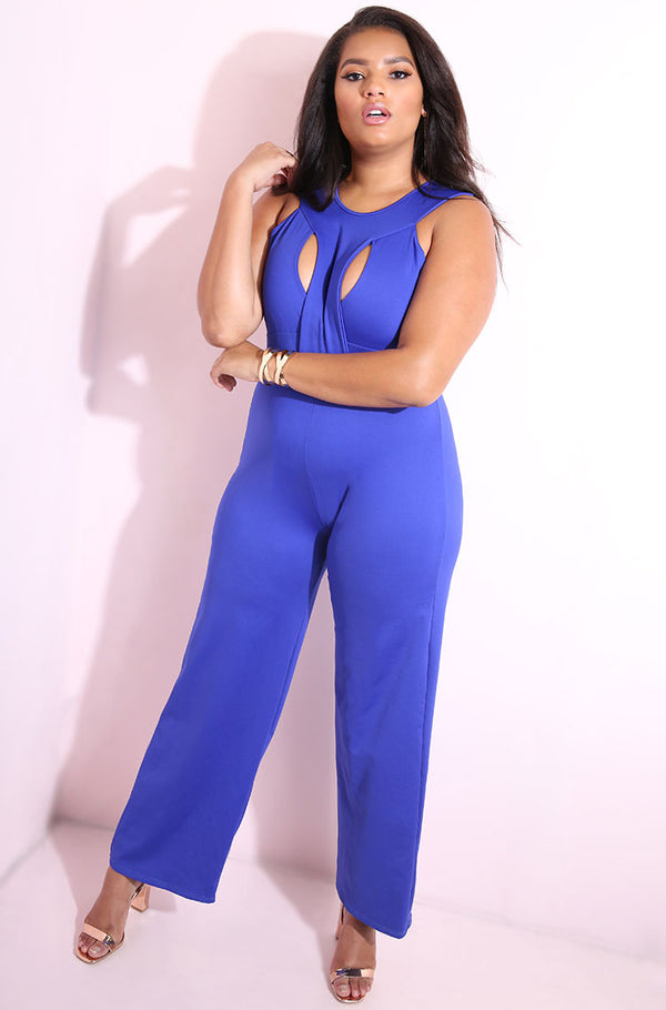 Blue Caged Scuba Jumpsuit plus sizes