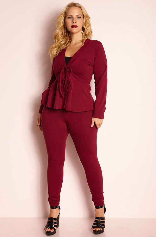 Burgundy High Waist Legging plus sizes