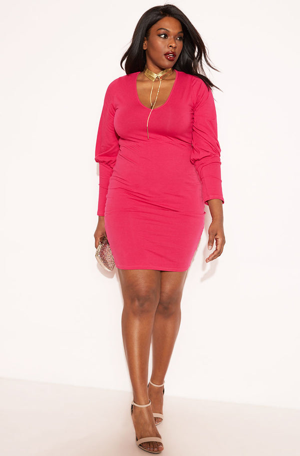 Fuchsia Puff Sleeve Bodycon Mini Dress plus sizes