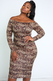 Over The shoulder Leopard Print Bodycon Midi Dress