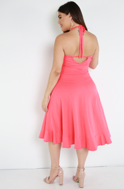 Coral Skater Midi Dress With Pockets Plus Sizes