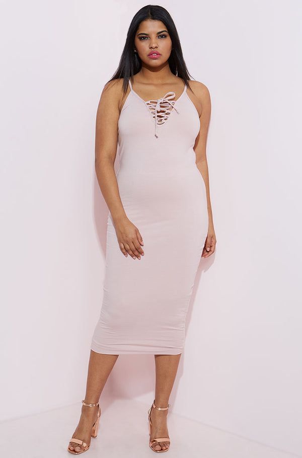 Blush Caged Bodycon Midi Dress