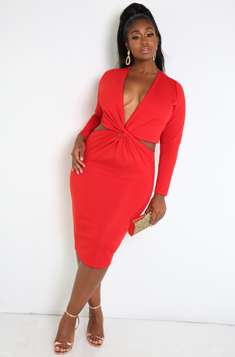 Red Cut-Out Bodycon Dress Plus Sizes