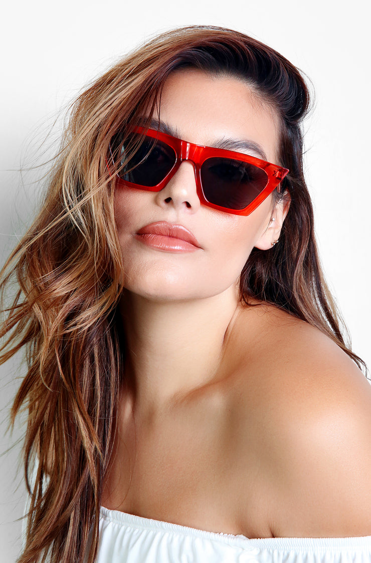 Red Flirty Framed Sunglasses