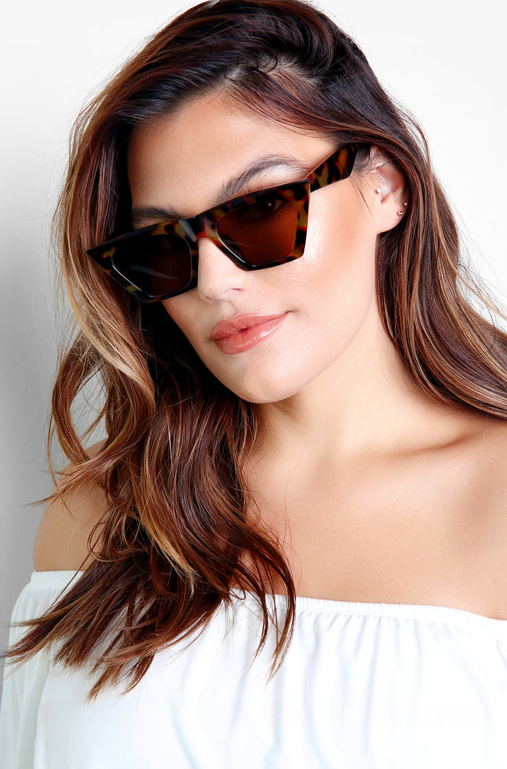 Tortoise Flirty Framed Sunglasses