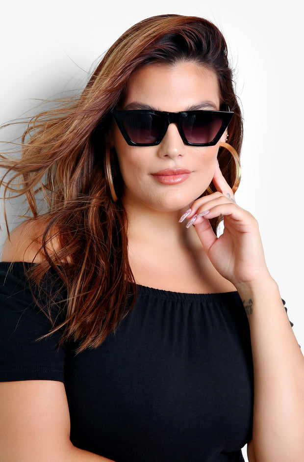 Black Flirty Framed Sunglasses