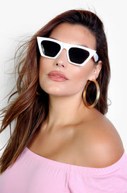 White Flirty Framed Sunglasses
