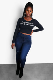Black Plus Size Long Sleeve Top