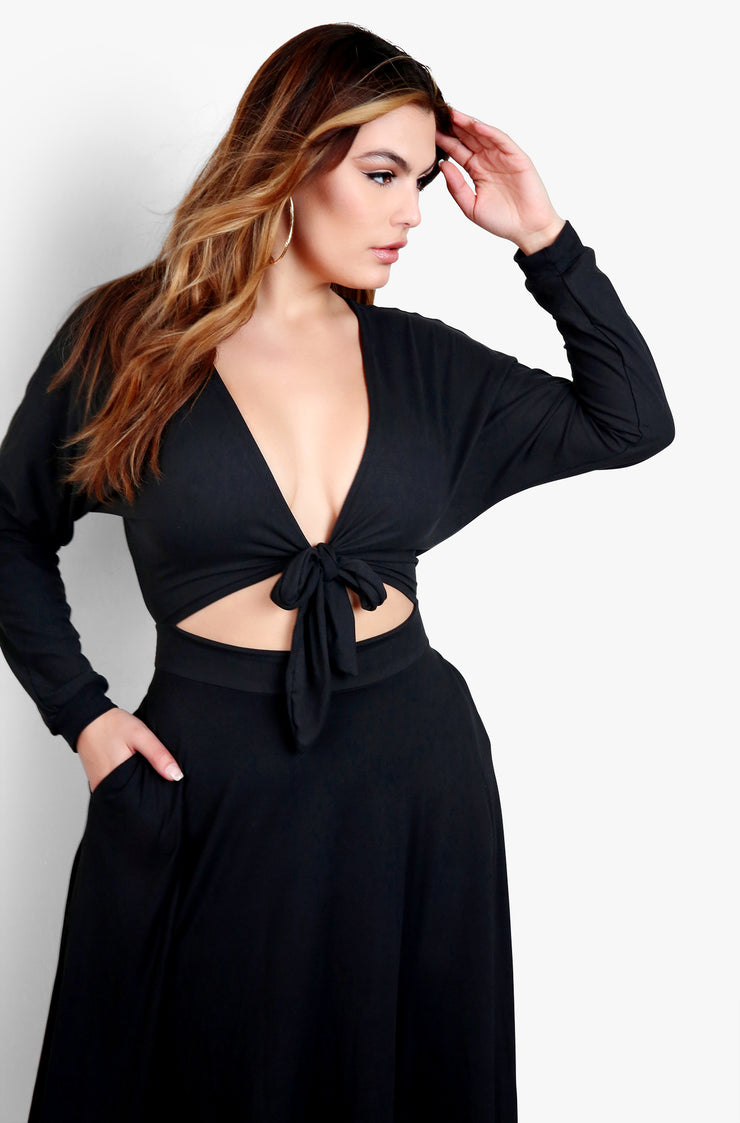Black Tie Front Cut Cut Skater Midi Dress