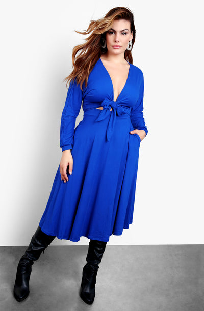 Royal Blue Tie Front Cut Out Skater Midi Dress
