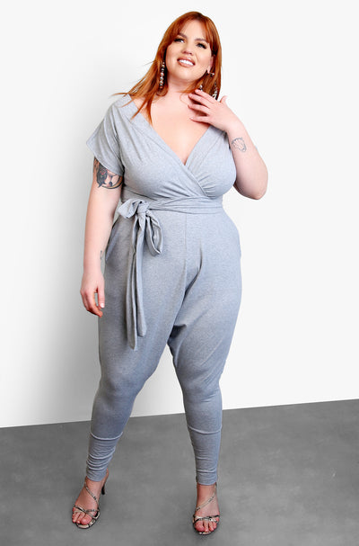 Gray Over The Shoulder Harem Jumpsuit Plus Sizes