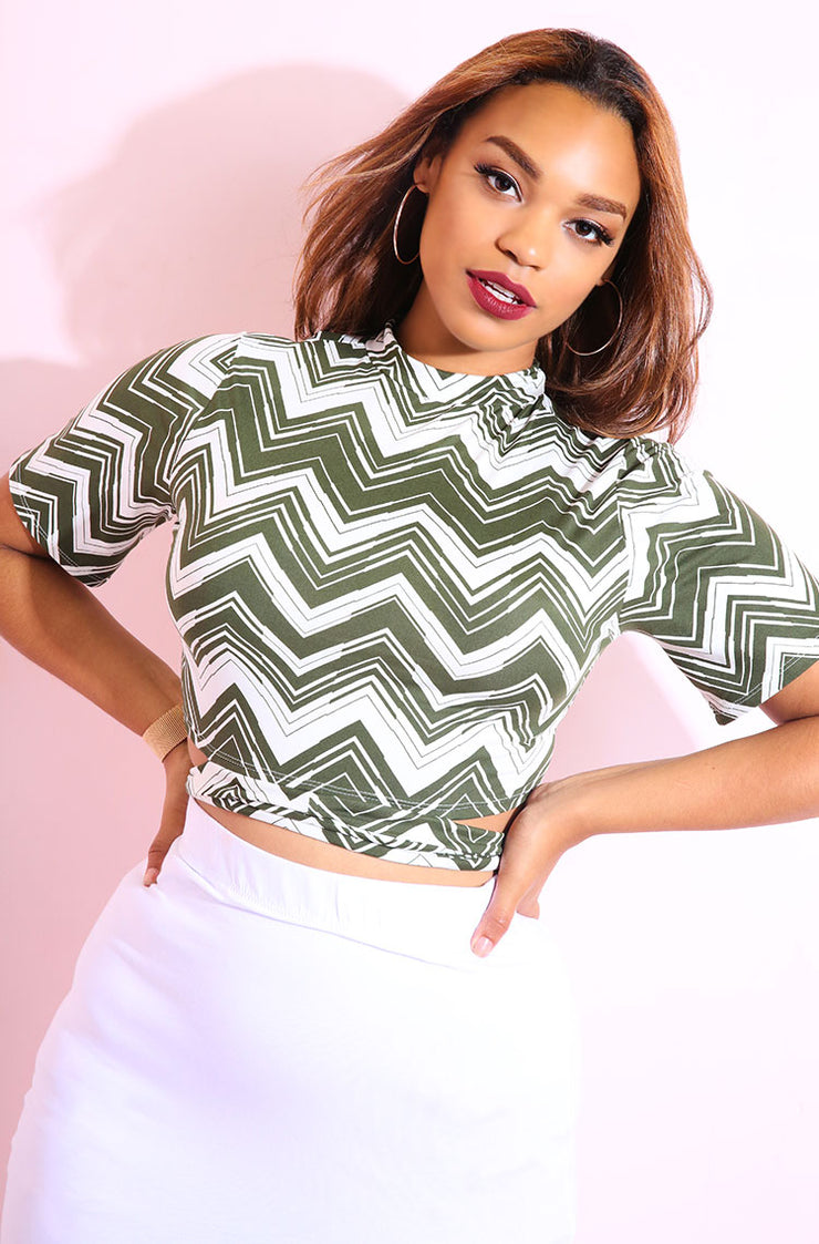 Olive Stylish Wrap Around crop tops plus sizes