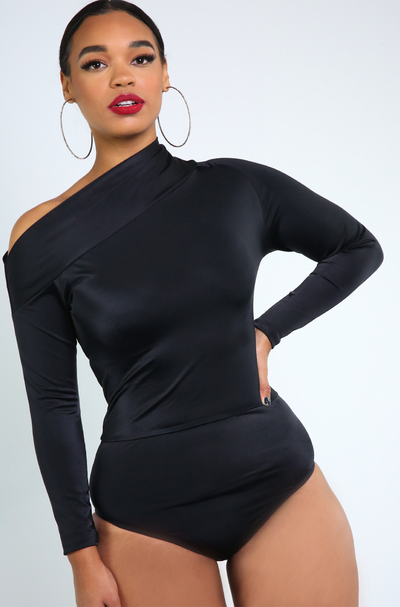Black Drop Shoulder Bodysuit Plus Sizes