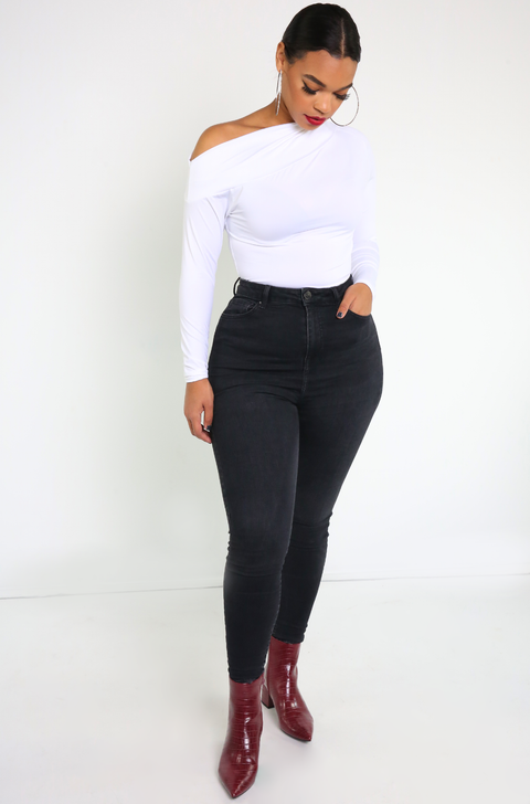 White Drop Shoulder Bodysuit Plus Sizes
