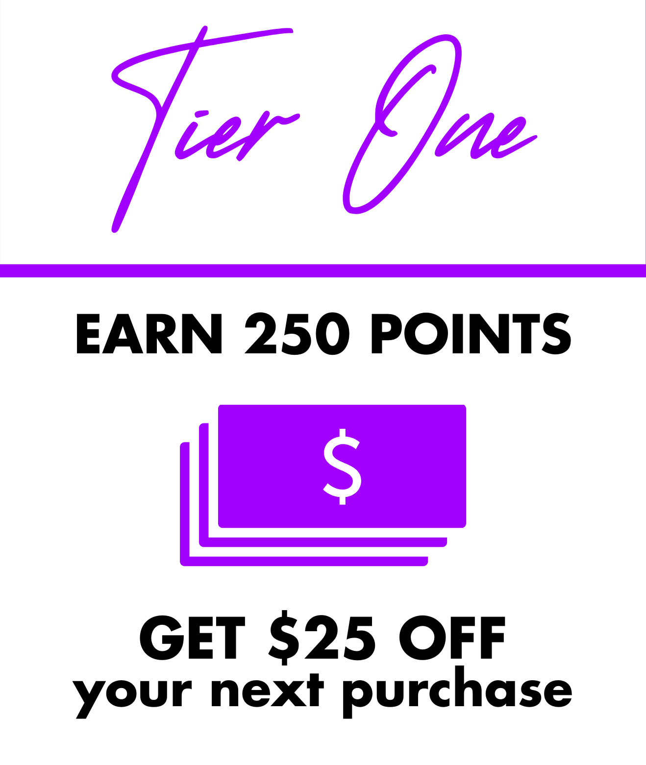 Tier One: Earn 250 points and get $25 off your next purchase!