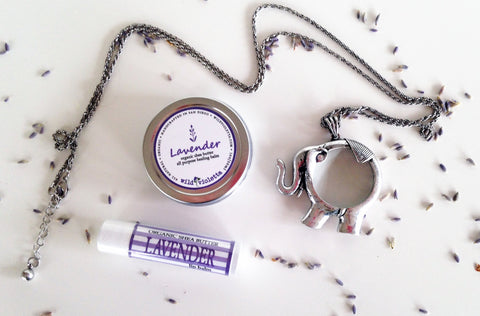Long Pendant Necklace gift Set, Organic Shea Butter Lavender Balm, Organic Lip Balm / Lavender Gift Set with Necklace - Wild Violetta  - 5