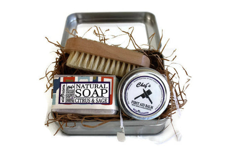 Chef's Gift Tin / Gifts for Her / Gift for Him / Citrus and Sage Soap, Nail Brush and Organic First Aid Hand Balm - Wild Violetta  - 3