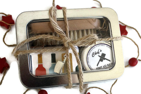 Chef's Gift Tin / Gifts for Her / Gift for Him / Citrus and Sage Soap, Nail Brush and Organic First Aid Hand Balm - Wild Violetta  - 1
