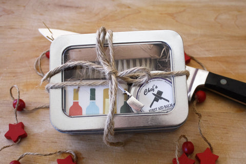 Chef's Gift Tin / Gifts for Her / Gift for Him / Citrus and Sage Soap, Nail Brush and Organic First Aid Hand Balm - Wild Violetta  - 4