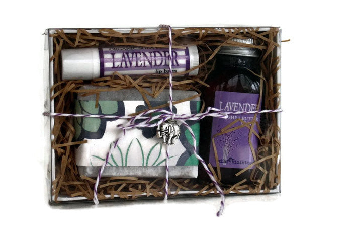 Lavender Spa Gift Box / Gift for Her Soap and Lotion / Birthday Gift, CoWorker Gift, Gifts for Her - Wild Violetta  - 1