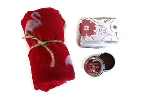 Beauty Spa Gift Set / Luxury Shea Soap, Lip and Cheek Stain, Large Scarf Wrap - Wild Violetta  - 2