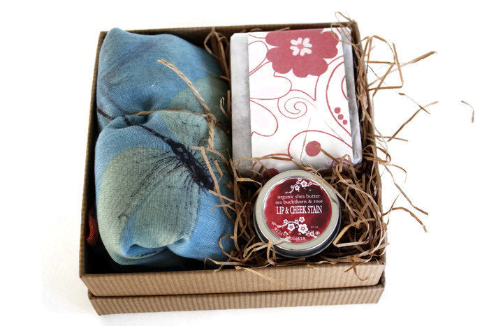 Beauty Spa Gift Set / Luxury Shea Soap, Lip and Cheek Stain, Large Scarf Wrap - Wild Violetta  - 1