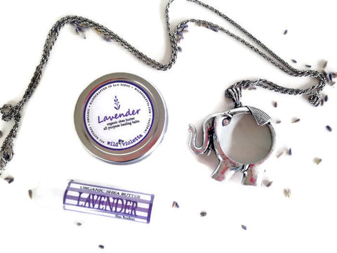 Long Pendant Necklace gift Set, Organic Shea Butter Lavender Balm, Organic Lip Balm / Lavender Gift Set with Necklace - Wild Violetta  - 3