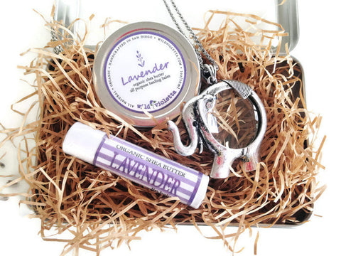Long Pendant Necklace gift Set, Organic Shea Butter Lavender Balm, Organic Lip Balm / Lavender Gift Set with Necklace - Wild Violetta  - 2