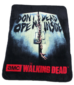 "The Walking Dead Fleece Throw Don't Open Dead Inside 46"" X 60"" - Showtimesavvy"