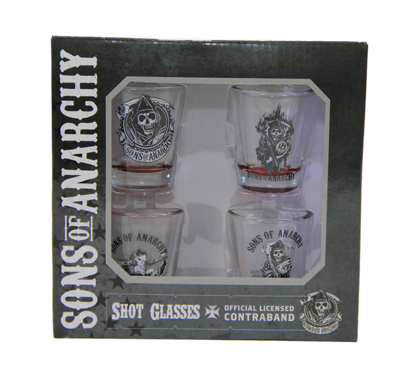 Sons Of Anarchy 4pc Red Bottom Shot Glass Set Showtimesavvy