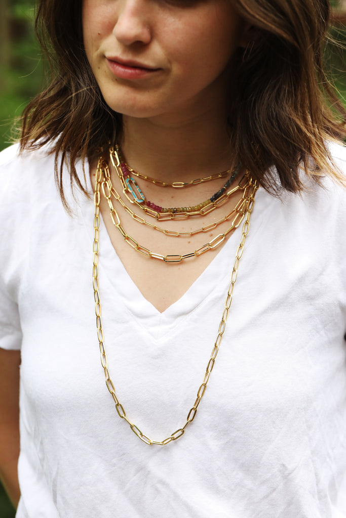 layering gold chains