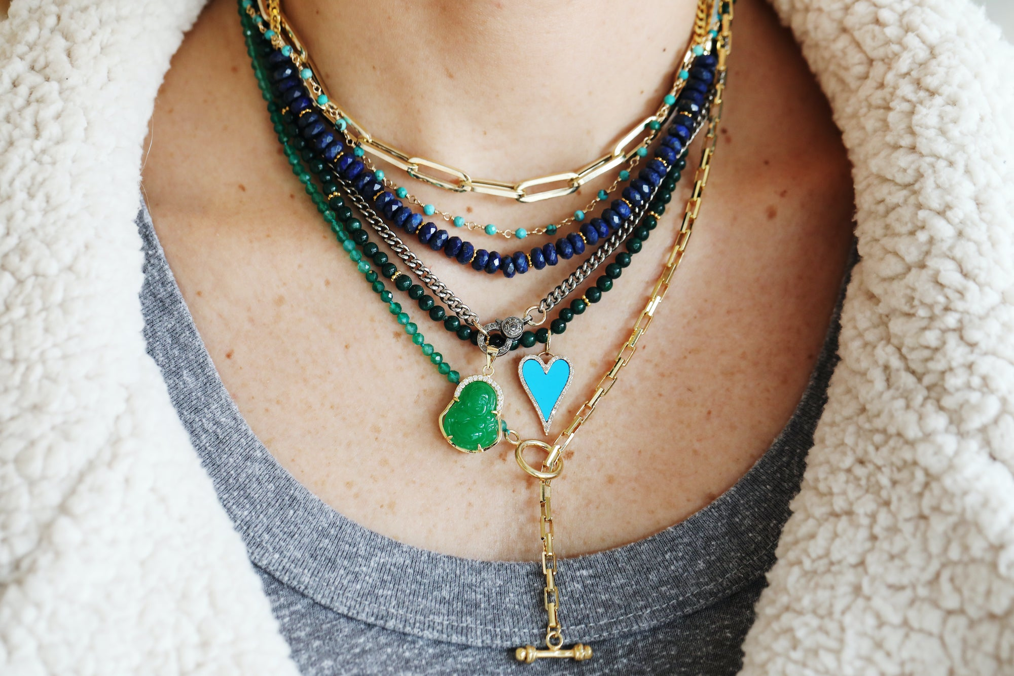 colorful necklace layers