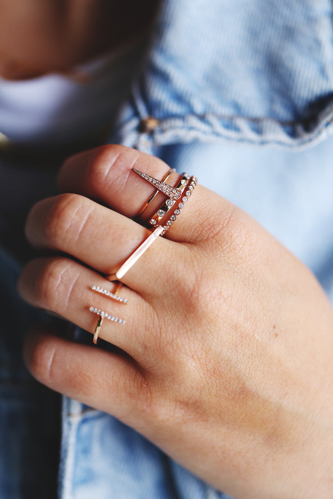 rose gold and gold stackable rings