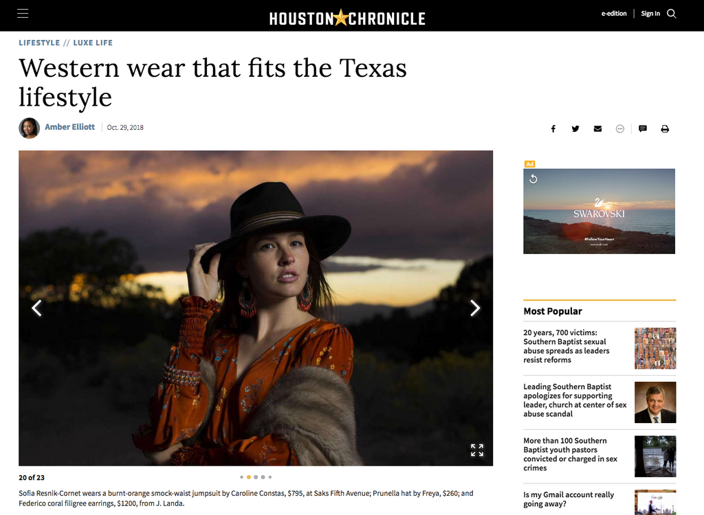 Western Wear at J. Landa Jewelry in HOuston Chronicle