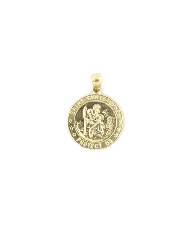 10K Gold Large St. Christopher Coin Charm