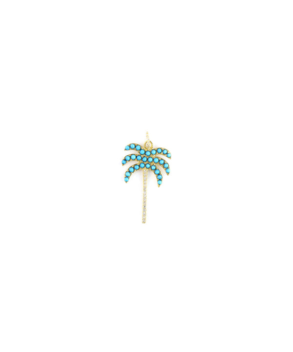 14K Gold Diamond Palm Tree Charm