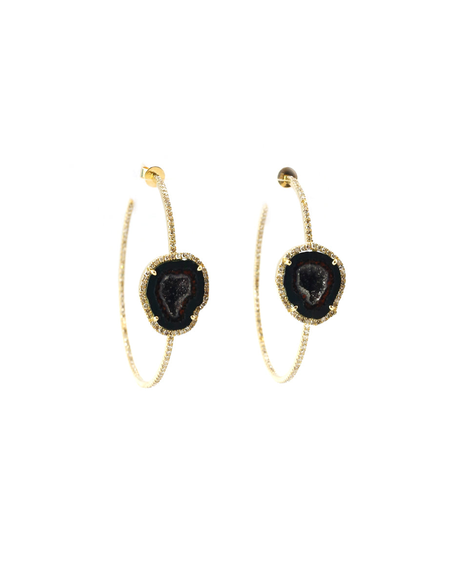 14K Diamond Gold Hoops with Druzi Stones