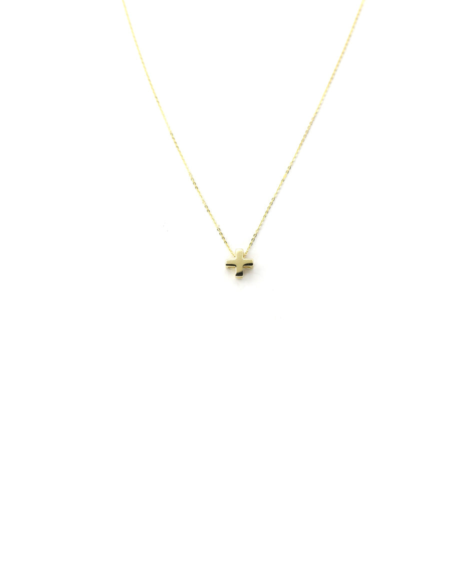 14K Gold Cross Charm Necklace