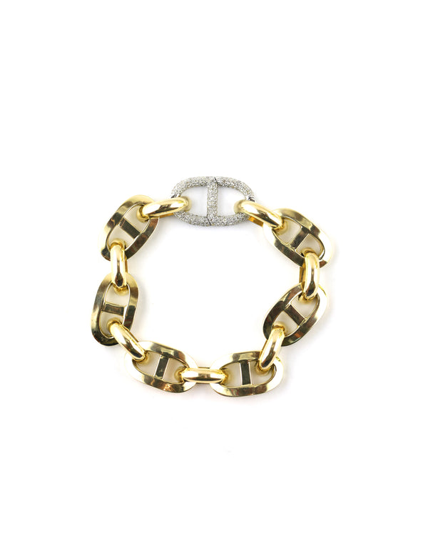 14K Gold Anchor Diamond Lock Bracelet